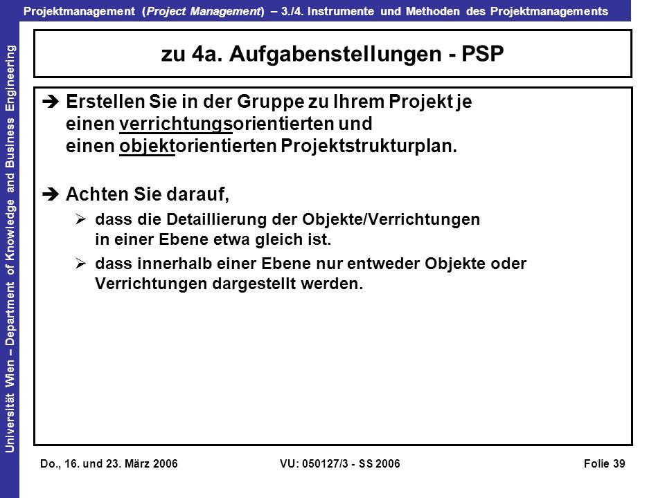 zu 4a. Aufgabenstellungen - PSP