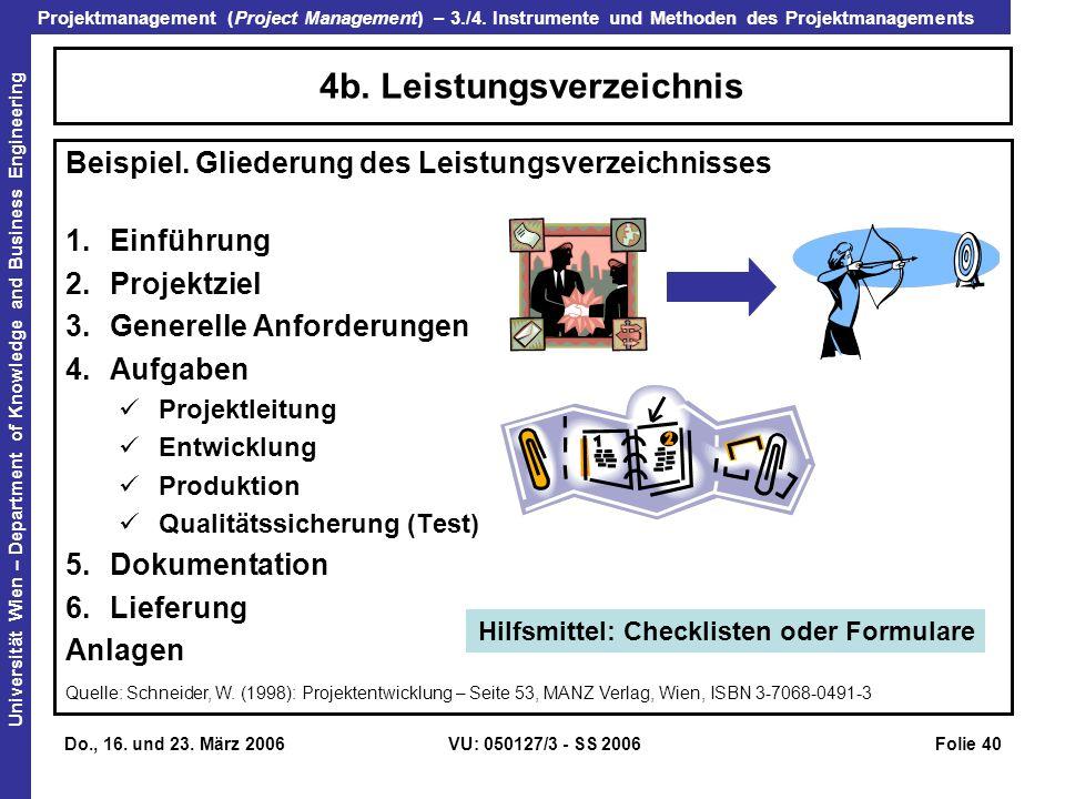 4b. Leistungsverzeichnis