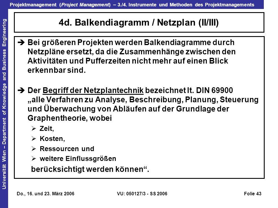 4d. Balkendiagramm / Netzplan (II/III)
