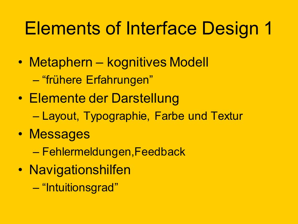 Elements of Interface Design 1