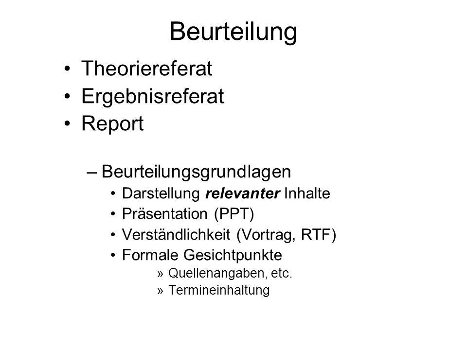 Beurteilung Theoriereferat Ergebnisreferat Report