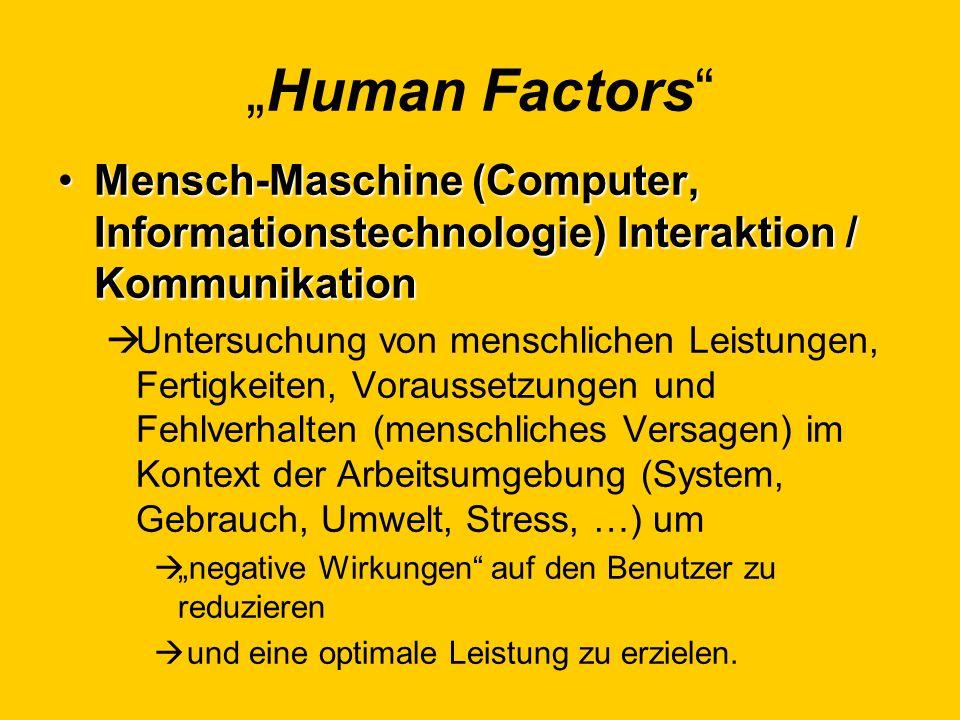 """""""Human Factors Mensch-Maschine (Computer, Informationstechnologie) Interaktion / Kommunikation."""