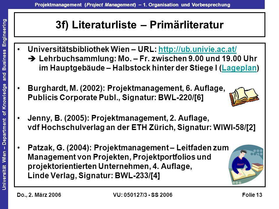 3f) Literaturliste – Primärliteratur