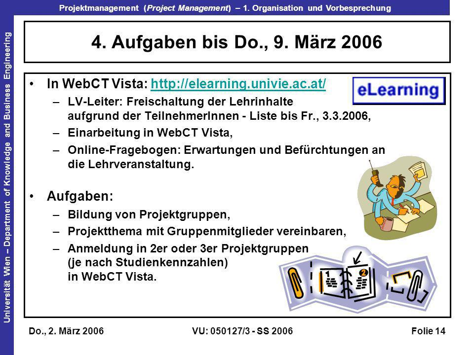 4. Aufgaben bis Do., 9. März 2006 In WebCT Vista: http://elearning.univie.ac.at/