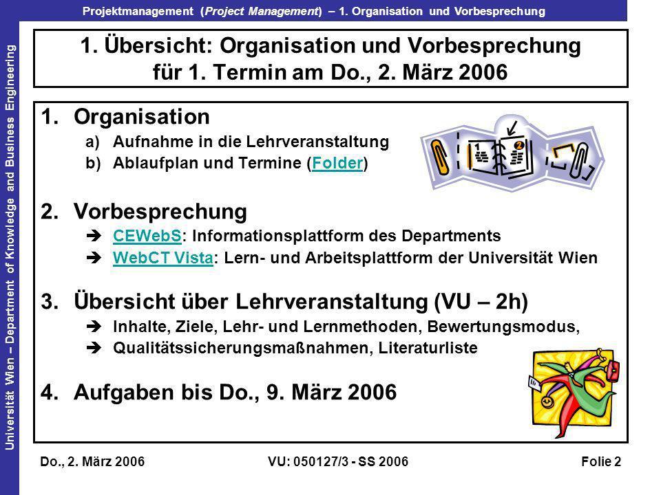 Übersicht über Lehrveranstaltung (VU – 2h)