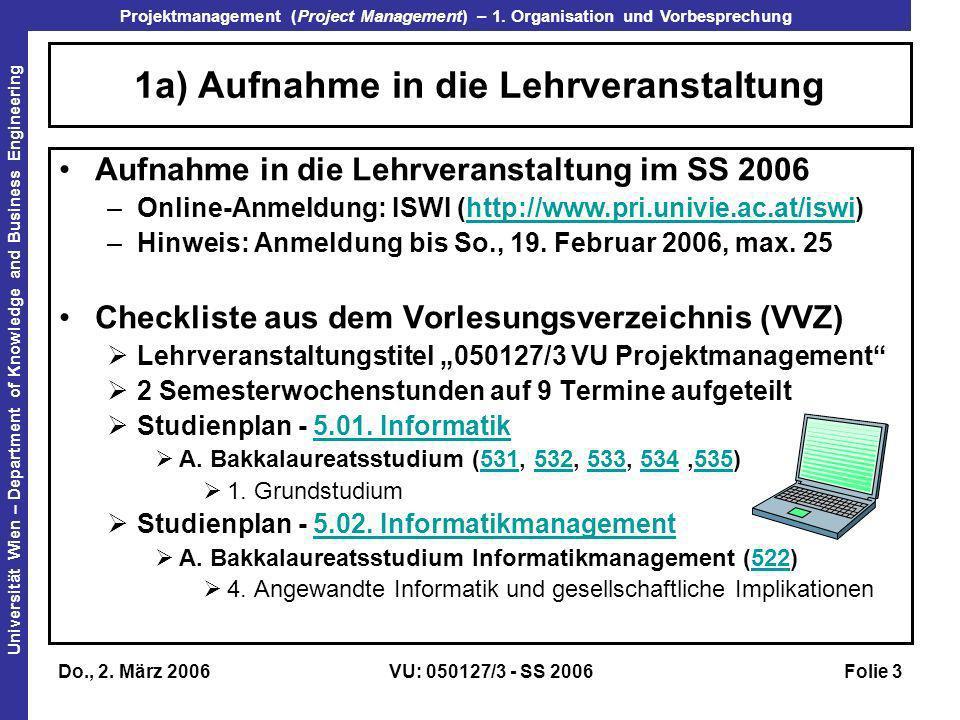 1a) Aufnahme in die Lehrveranstaltung
