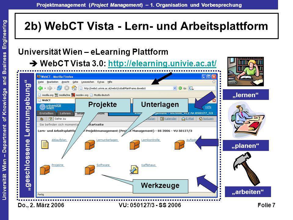 2b) WebCT Vista - Lern- und Arbeitsplattform