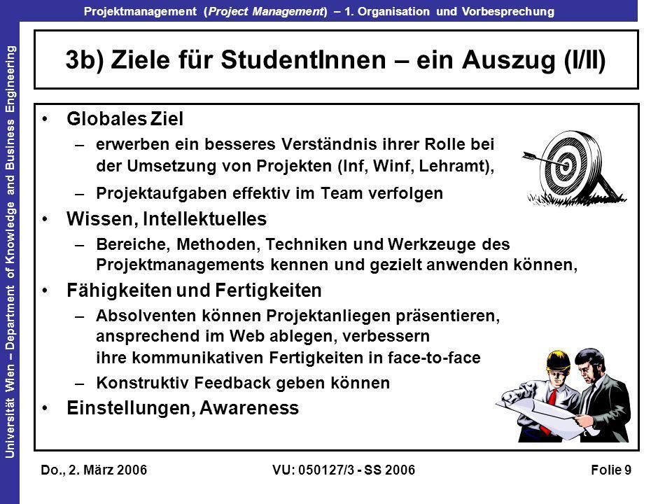 3b) Ziele für StudentInnen – ein Auszug (I/II)