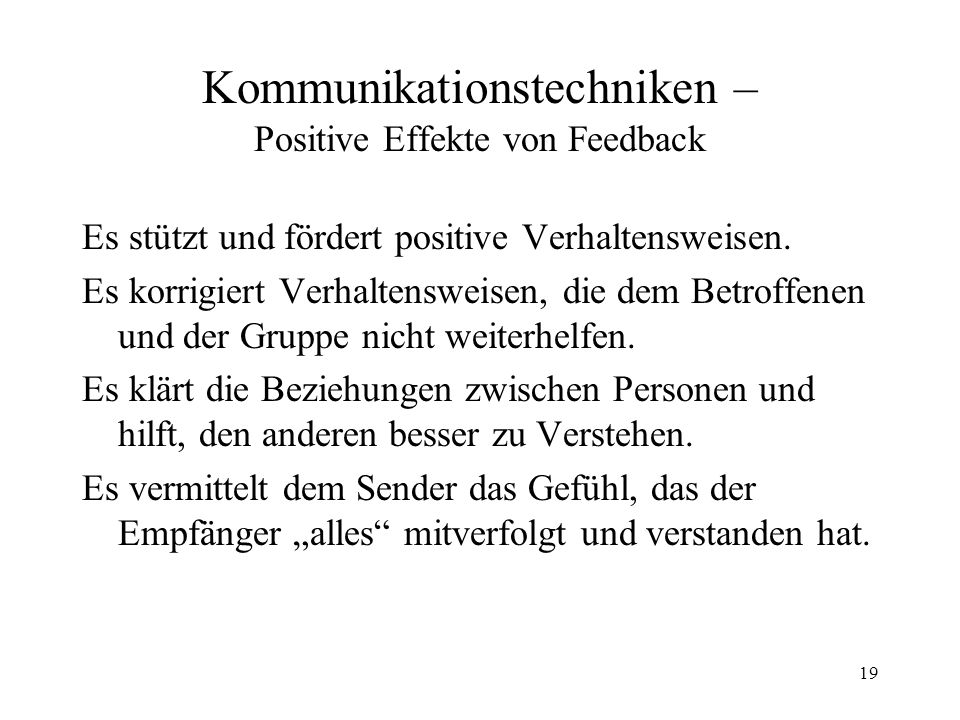 Kommunikationstechniken – Positive Effekte von Feedback