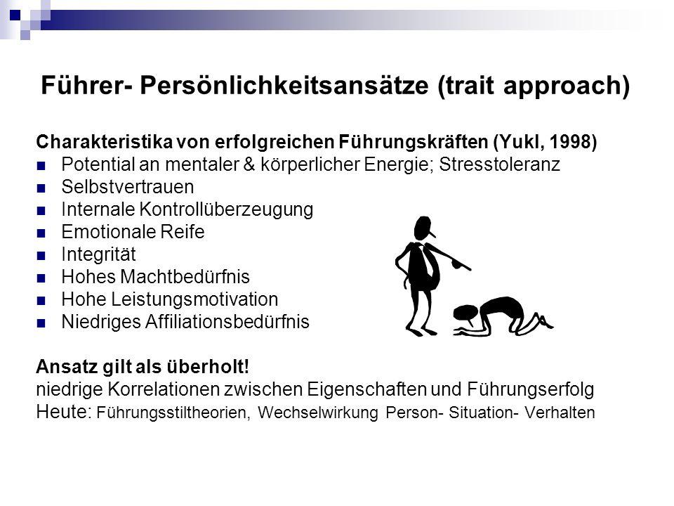 Führer- Persönlichkeitsansätze (trait approach)