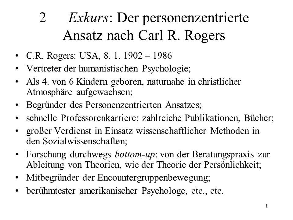 2 Exkurs: Der personenzentrierte Ansatz nach Carl R. Rogers
