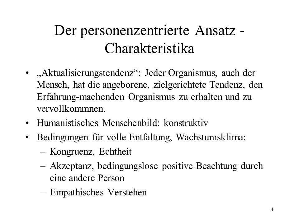 Der personenzentrierte Ansatz - Charakteristika