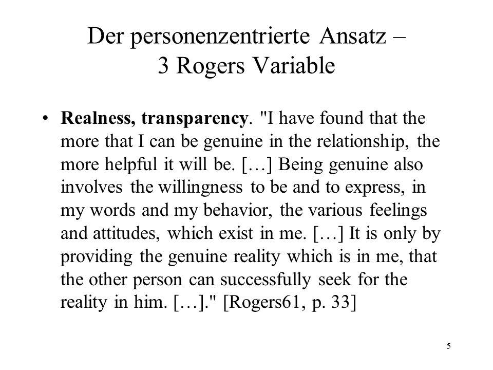 Der personenzentrierte Ansatz – 3 Rogers Variable