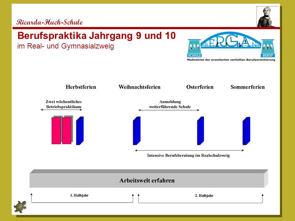 Berufspraktika Jahrgang 9 und 10 im Real- und Gymnasialzweig