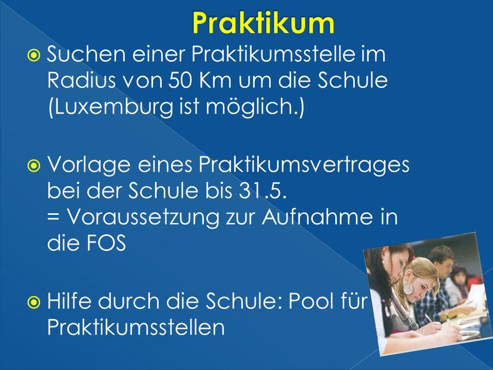 Praktikum Suchen einer Praktikumsstelle im Radius von 50 Km um die Schule (Luxemburg ist möglich.)