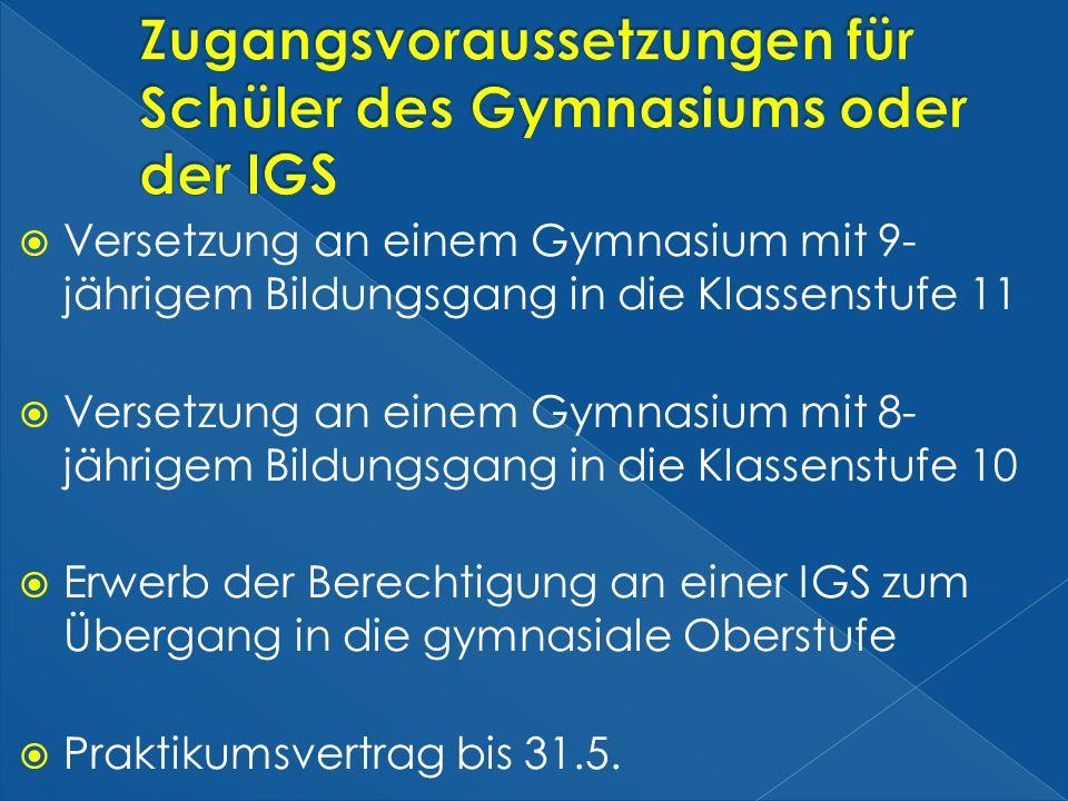 Zugangsvoraussetzungen für Schüler des Gymnasiums oder der IGS