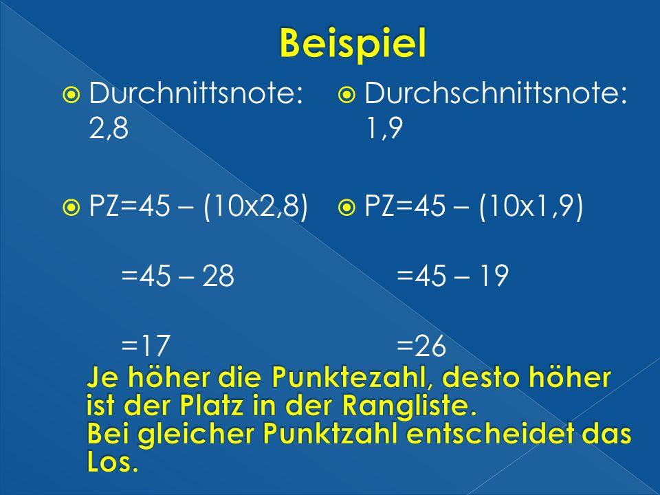 Beispiel Durchnittsnote: 2,8 PZ=45 – (10x2,8) =45 – 28 =17