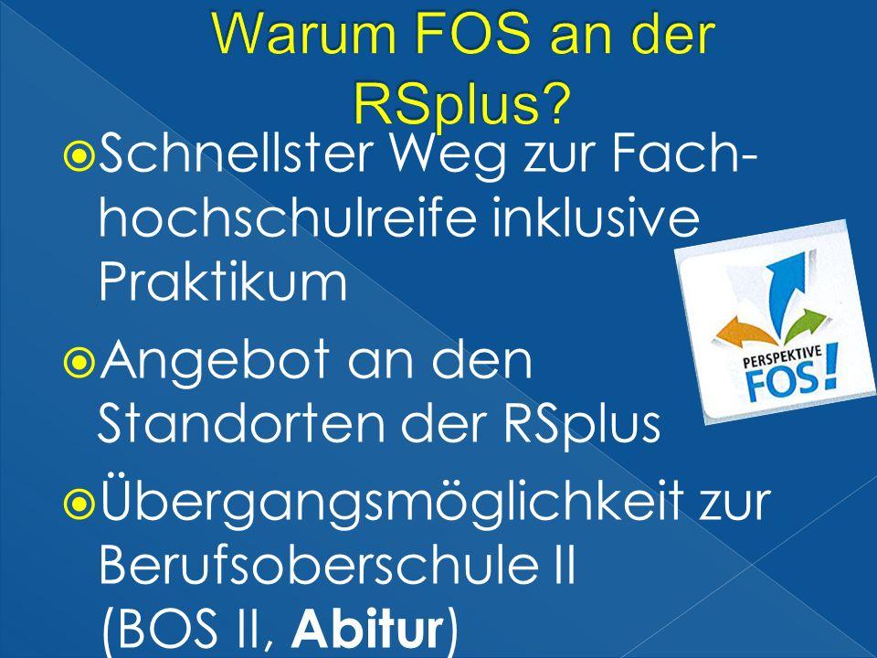 Warum FOS an der RSplus Schnellster Weg zur Fach- hochschulreife inklusive Praktikum. Angebot an den Standorten der RSplus.