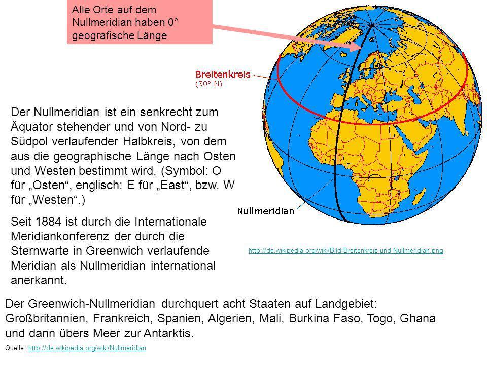 Alle Orte auf dem Nullmeridian haben 0° geografische Länge
