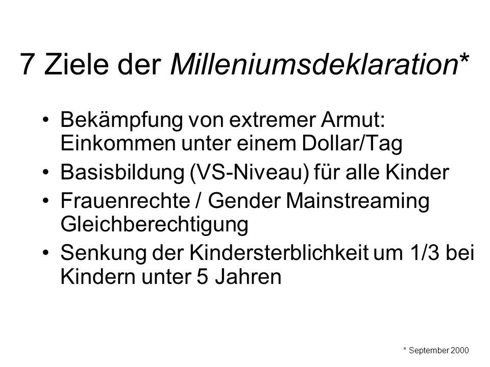 7 Ziele der Milleniumsdeklaration*