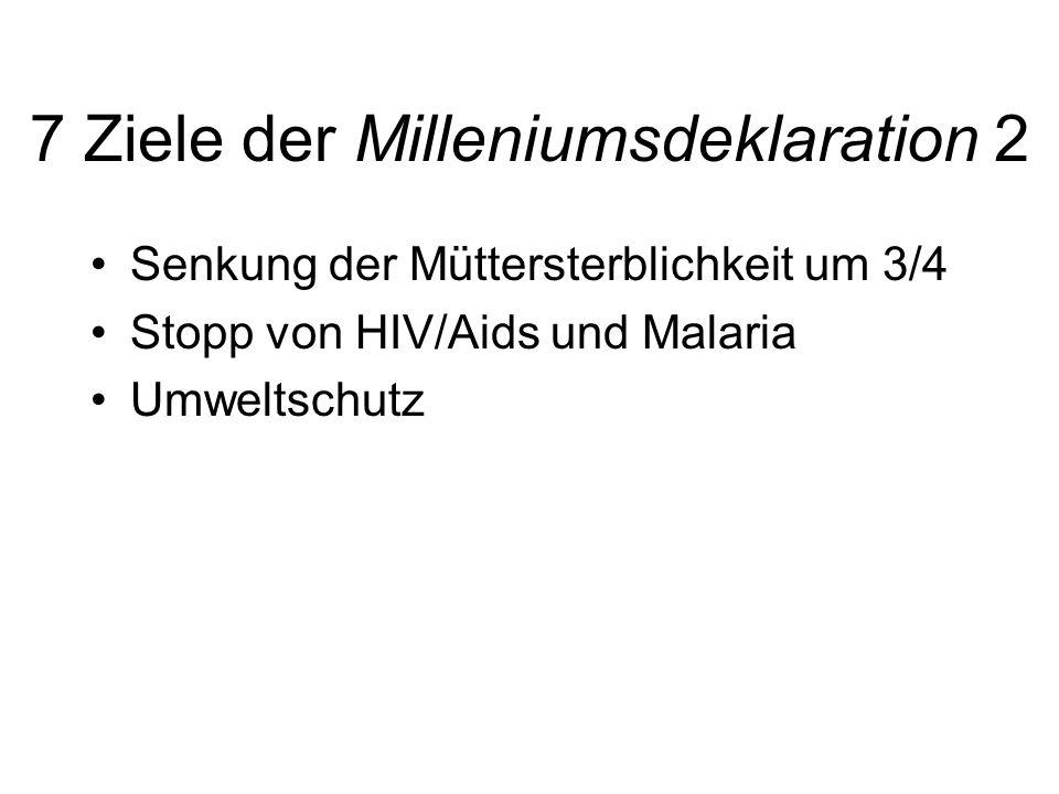 7 Ziele der Milleniumsdeklaration 2