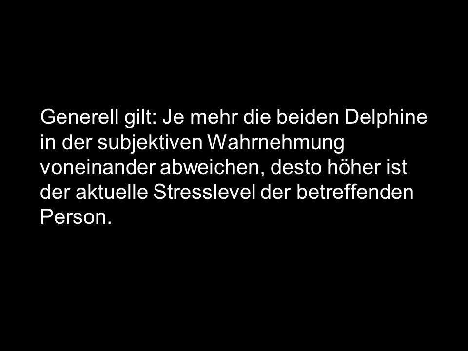 Generell gilt: Je mehr die beiden Delphine in der subjektiven Wahrnehmung voneinander abweichen, desto höher ist der aktuelle Stresslevel der betreffenden Person.