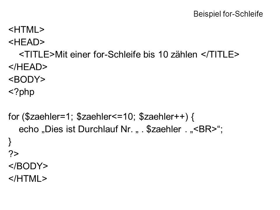 Beispiel for-Schleife