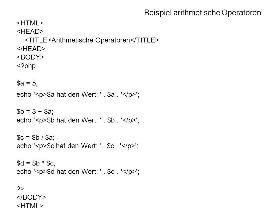 Beispiel arithmetische Operatoren