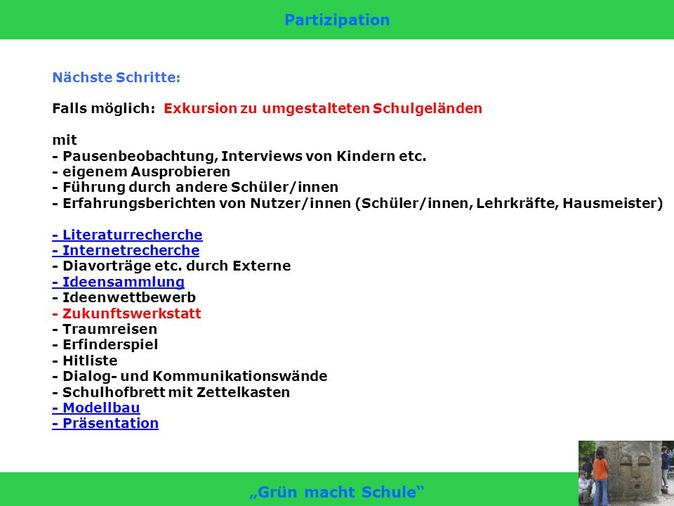 """Partizipation """"Grün macht Schule"""