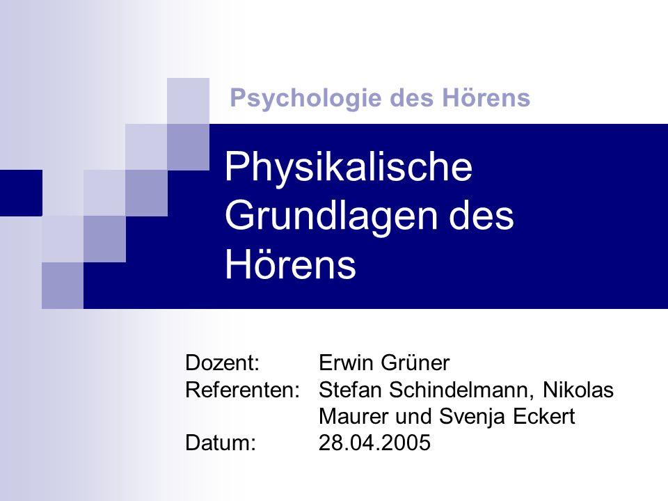 Physikalische Grundlagen des Hörens