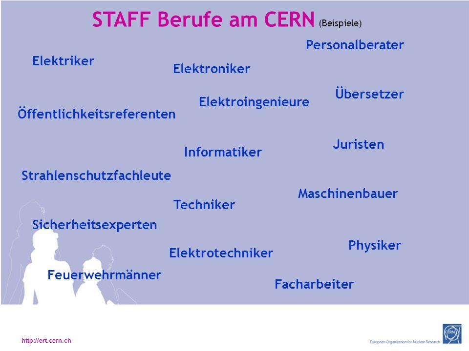 STAFF Berufe am CERN (Beispiele)