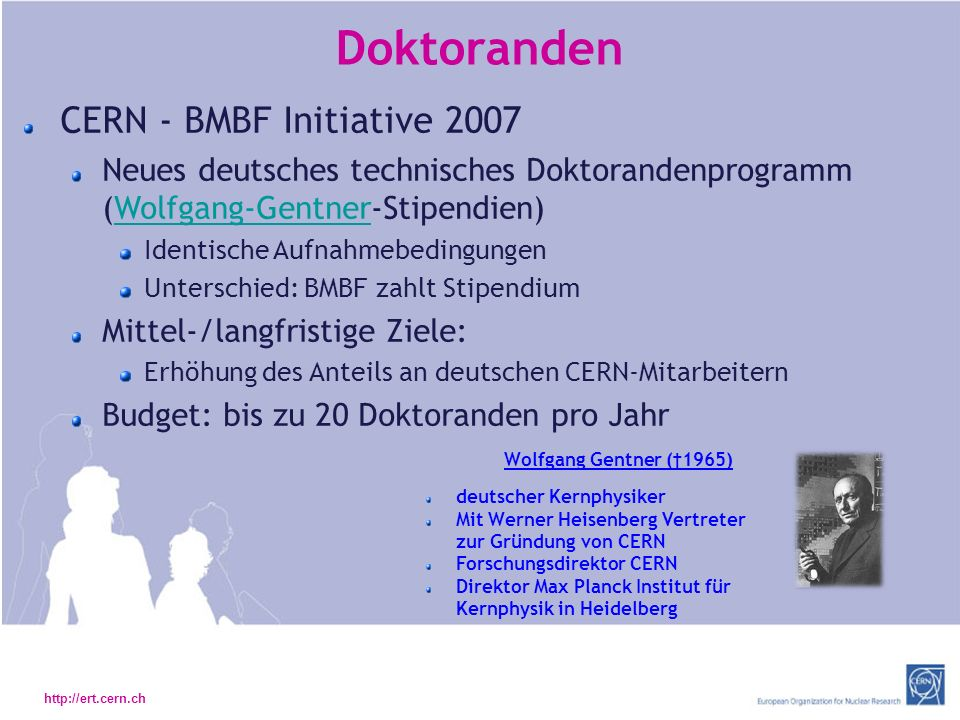 Doktoranden CERN - BMBF Initiative 2007