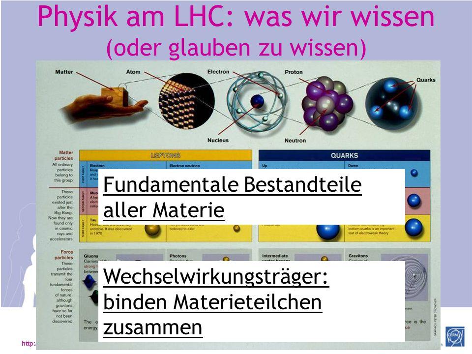 Physik am LHC: was wir wissen (oder glauben zu wissen)