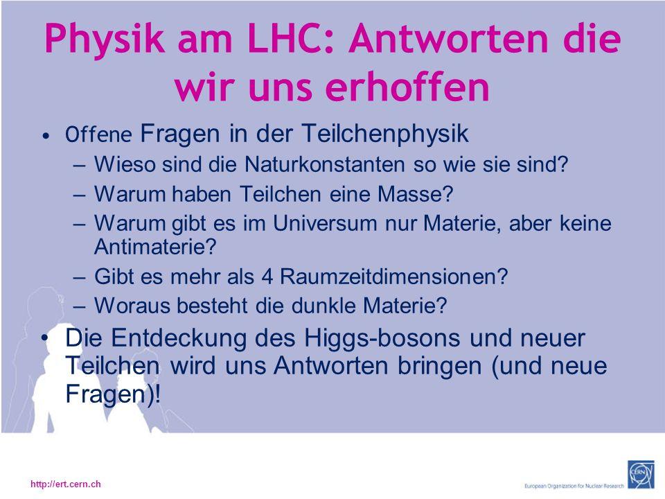 Physik am LHC: Antworten die wir uns erhoffen