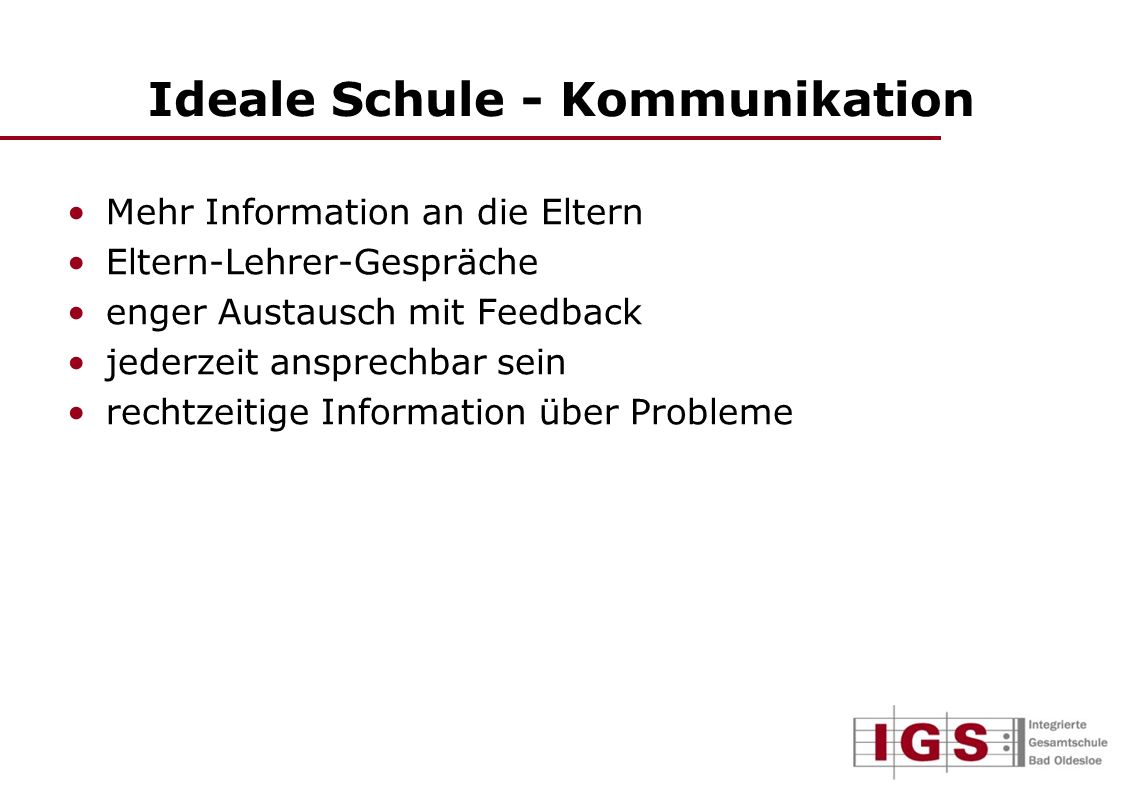 Ideale Schule - Kommunikation