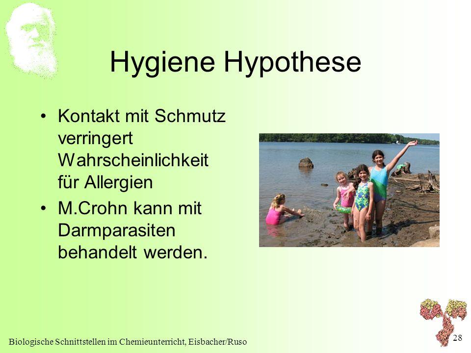 Hygiene Hypothese Kontakt mit Schmutz verringert Wahrscheinlichkeit für Allergien. M.Crohn kann mit Darmparasiten behandelt werden.