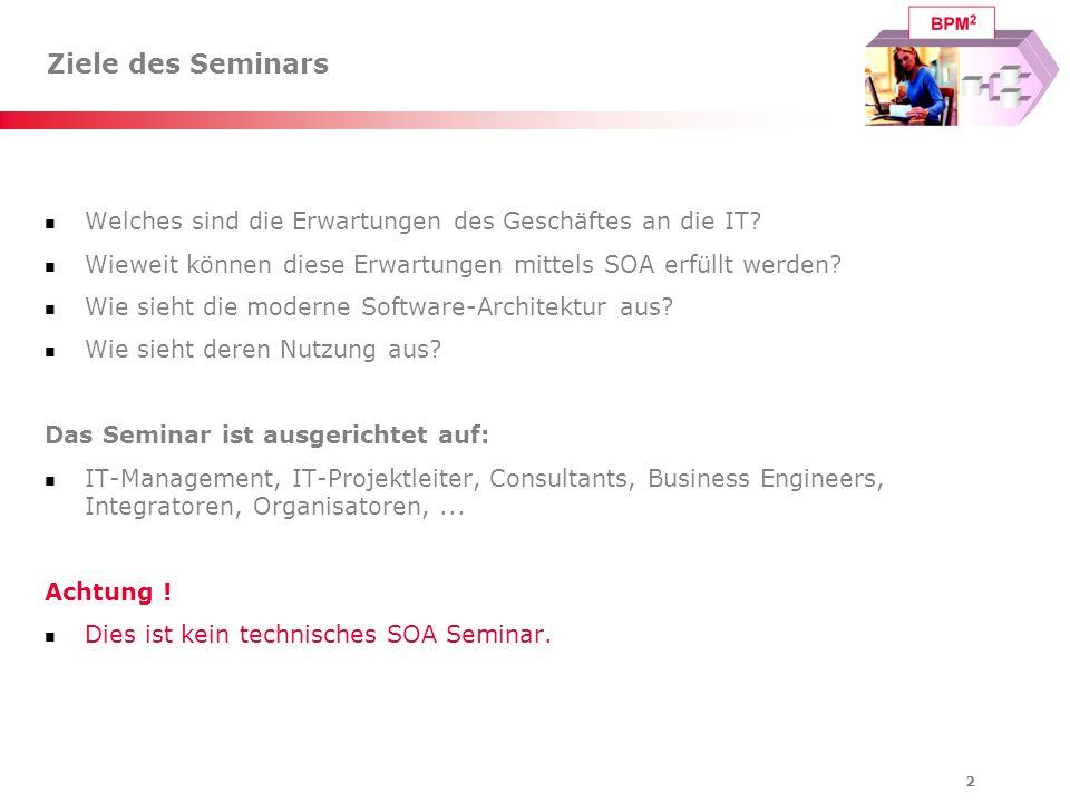 Ziele des Seminars Welches sind die Erwartungen des Geschäftes an die IT Wieweit können diese Erwartungen mittels SOA erfüllt werden