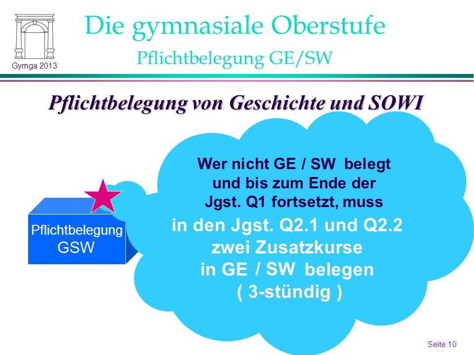 Pflichtbelegung GE/SW