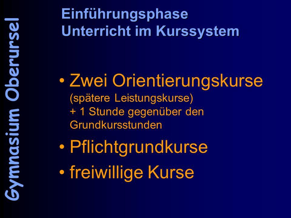 Einführungsphase Unterricht im Kurssystem