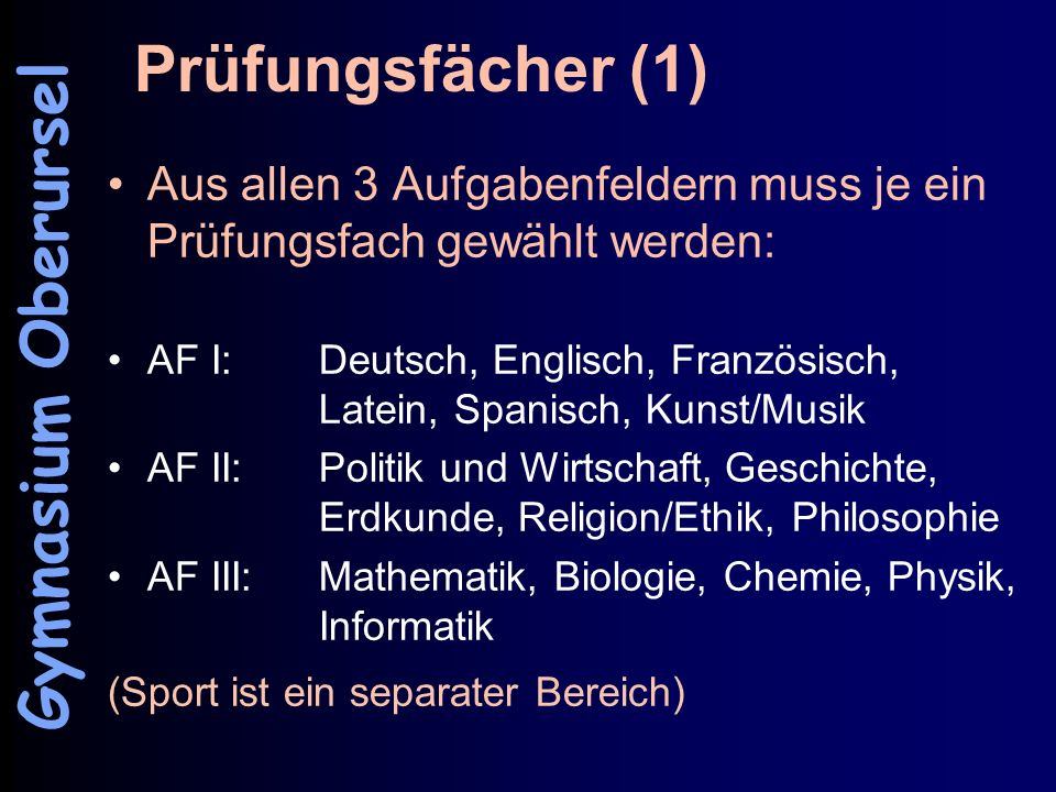 Prüfungsfächer (1) Gymnasium Oberursel