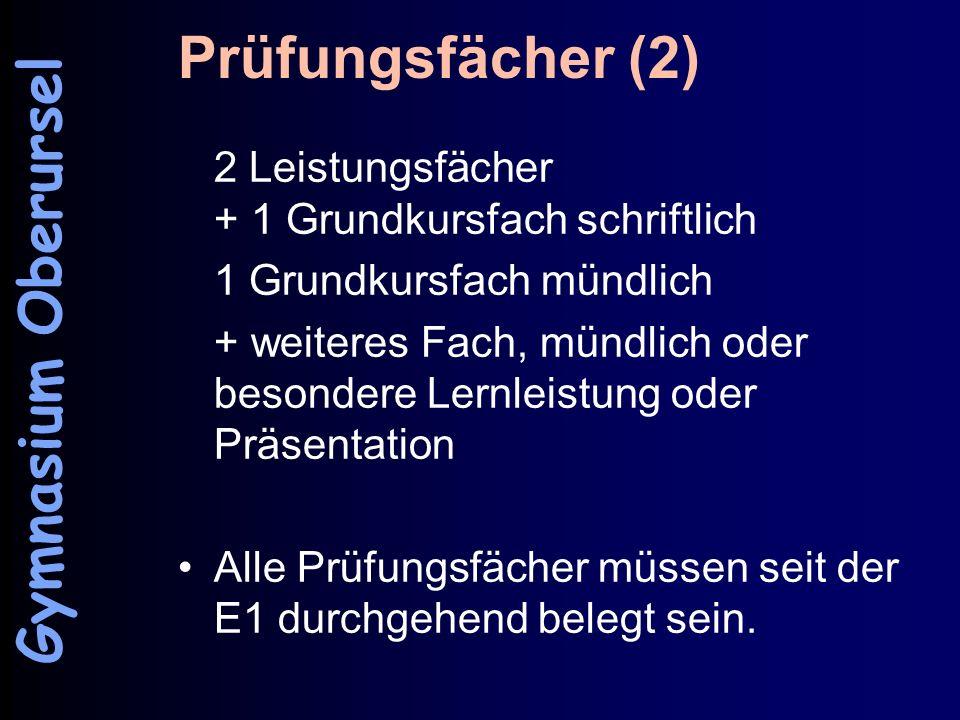 Prüfungsfächer (2) Gymnasium Oberursel