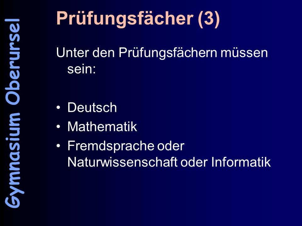 Prüfungsfächer (3) Gymnasium Oberursel