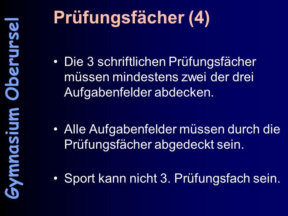 Prüfungsfächer (4) Gymnasium Oberursel