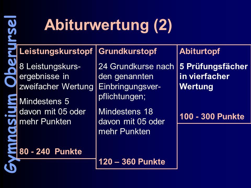 Abiturwertung (2) Gymnasium Oberursel Leistungskurstopf