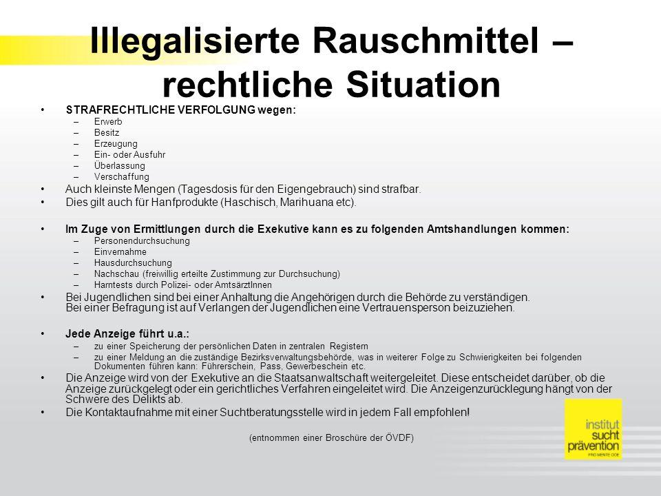 Illegalisierte Rauschmittel – rechtliche Situation