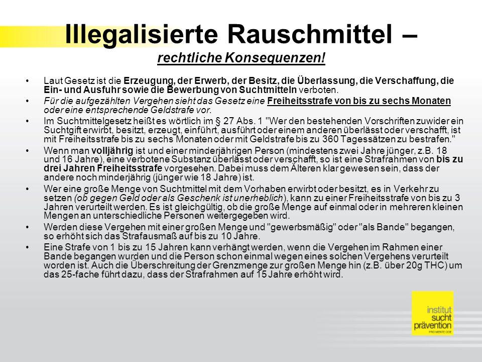 Illegalisierte Rauschmittel – rechtliche Konsequenzen!