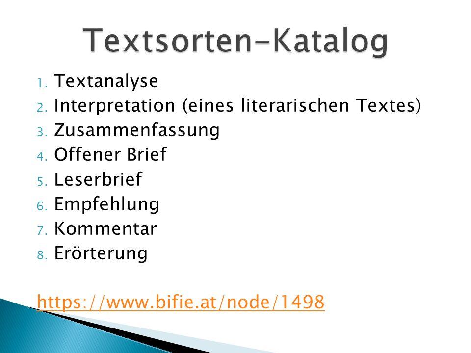 Textsorten-Katalog Textanalyse