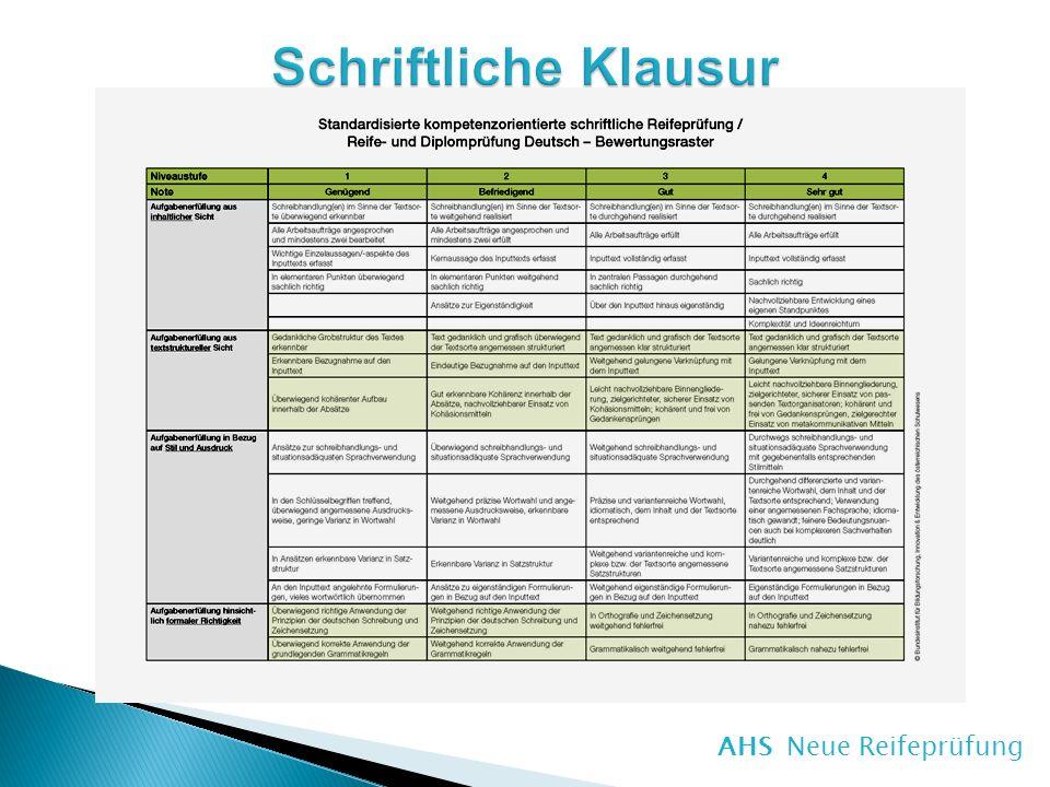 Schriftliche Klausur Deutsch