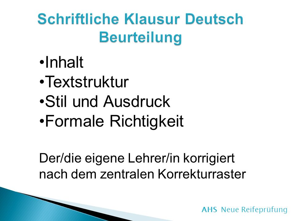 Schriftliche Klausur Deutsch Beurteilung