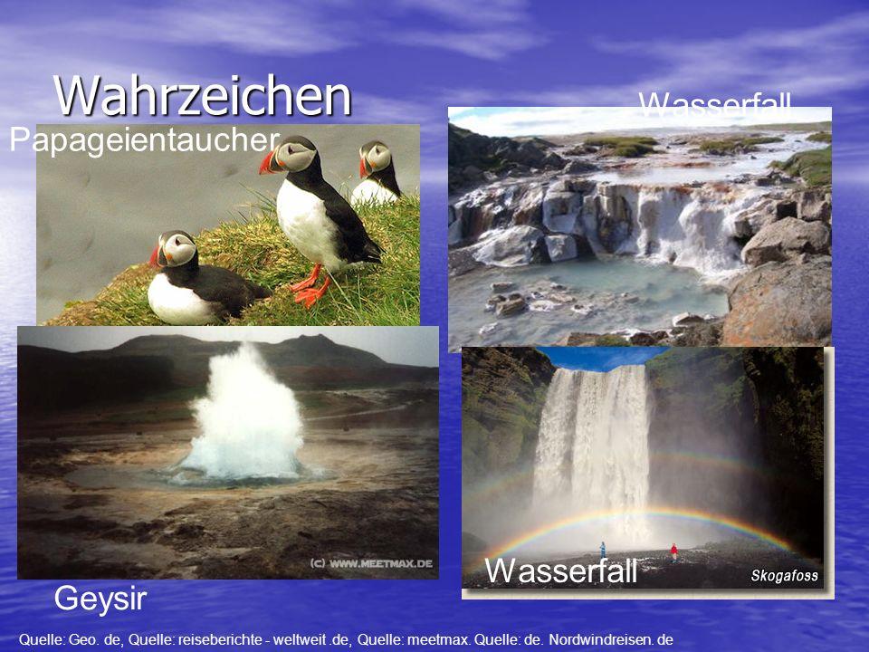 Wahrzeichen Wasserfall Papageientaucher Wasserfall Geysir Geysir